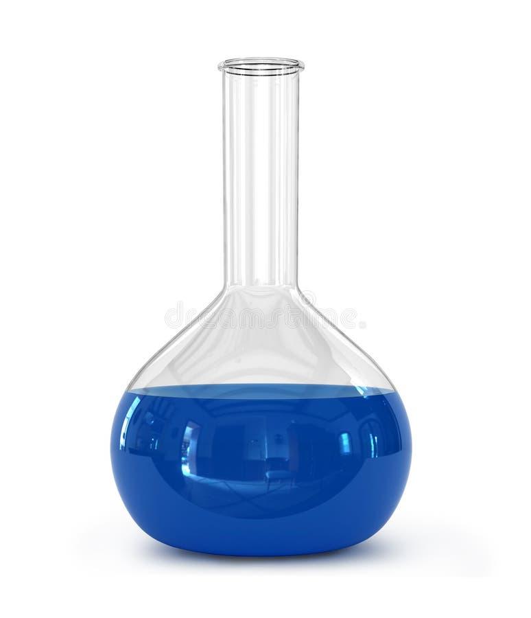 Frasco químico del laboratorio con el líquido verde fotografía de archivo