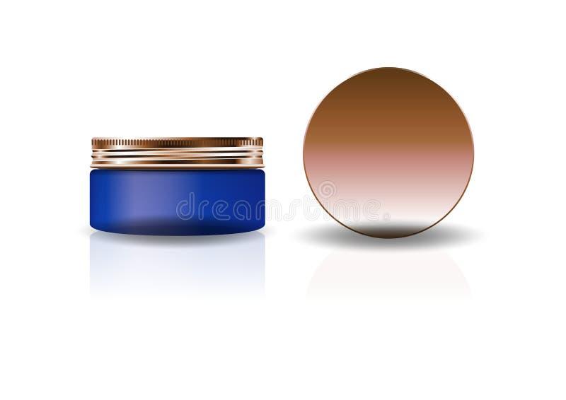 Frasco redondo cosmético azul vazio com a tampa de cobre para a beleza ou o produto saudável ilustração do vetor