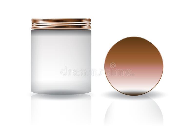 Frasco redondo cosmético branco vazio com a tampa de cobre no tamanho alto ilustração do vetor