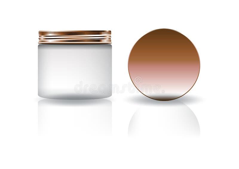 Frasco redondo cosmético branco vazio com a tampa de cobre no tamanho alto médio ilustração stock
