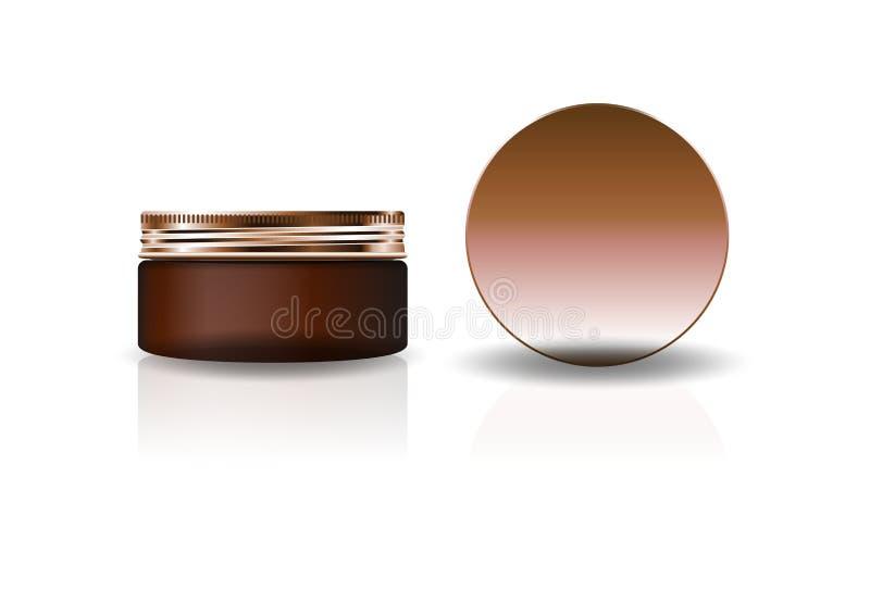 Frasco redondo cosmético marrom vazio com a tampa de cobre para a beleza ou o produto saudável ilustração do vetor