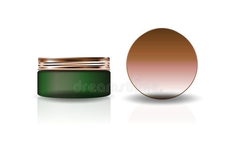 Frasco redondo cosmético verde vazio com a tampa de cobre para a beleza ou o produto saudável ilustração do vetor