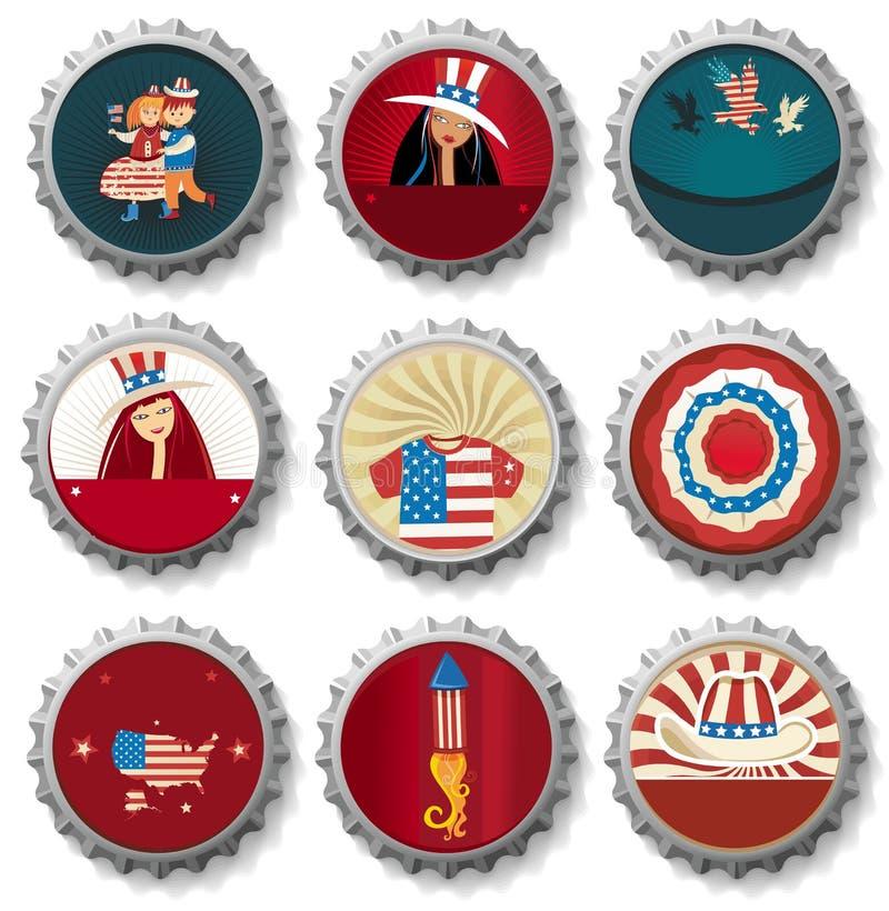 Frasco-tampões dos EUA. ilustração do vetor