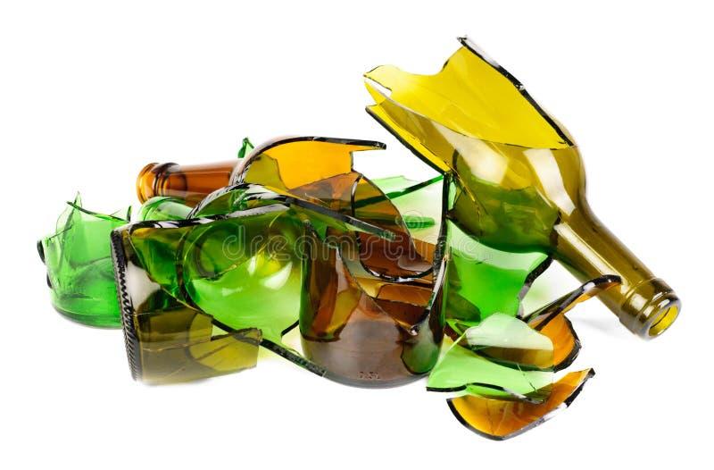 Frasco verde e marrom de Recycled.Shattered imagens de stock