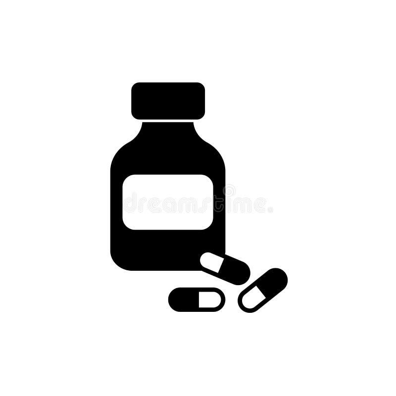 Frasco y drogas ilustración del vector
