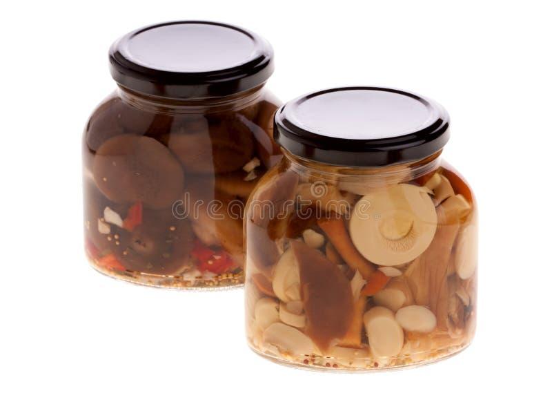 Frascos com cogumelos pstos de conserva fotografia de stock royalty free