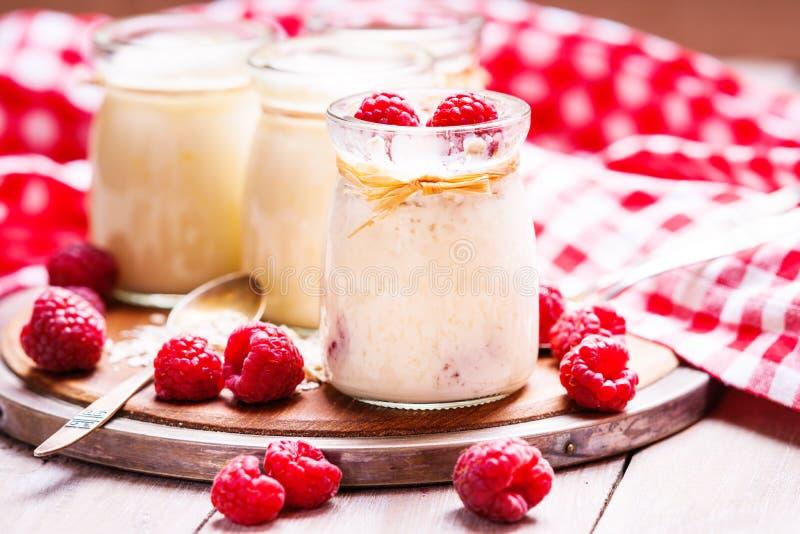 Frascos com iogurte, framboesas e flocos da aveia fotos de stock