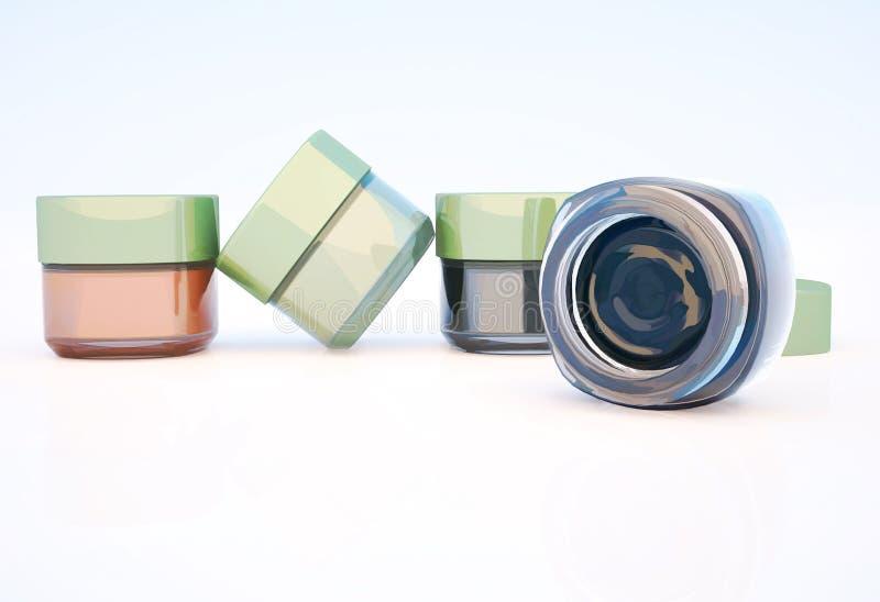 Frascos cosméticos da argila isolados em um fundo claro ilustração royalty free