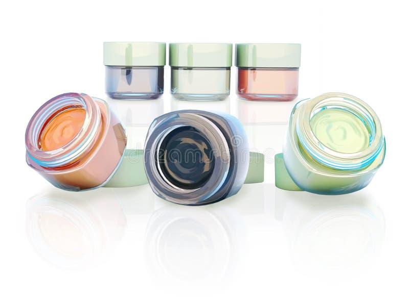 Frascos cosméticos da argila isolados em um fundo claro Três frascos ilustração royalty free