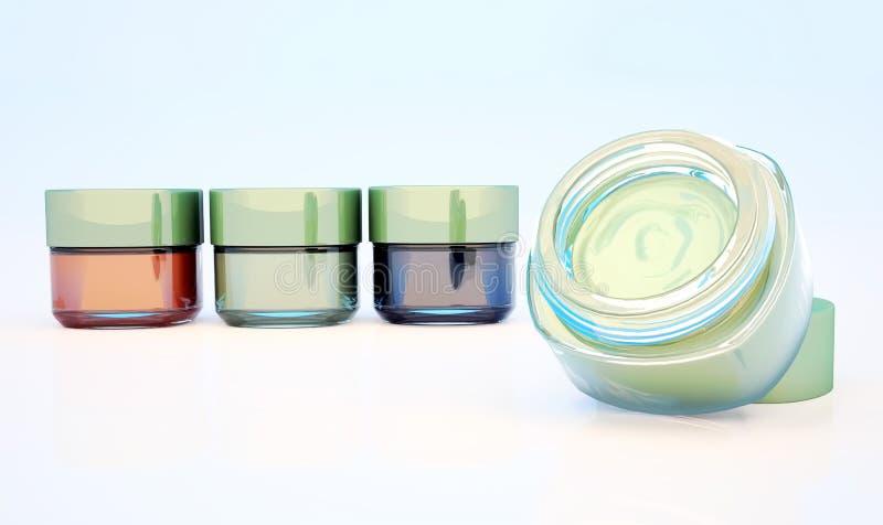 Frascos cosméticos da argila isolados em um fundo claro Um frasco é ilustração do vetor