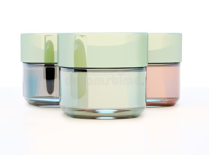 Frascos da argila cosmética isolados no fundo branco ilustração stock