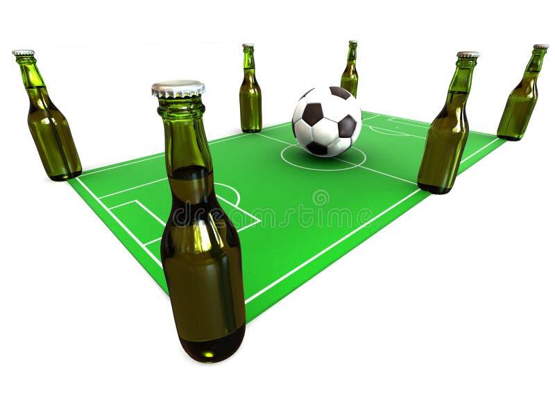 Frascos da cerveja no campo de futebol ilustração royalty free