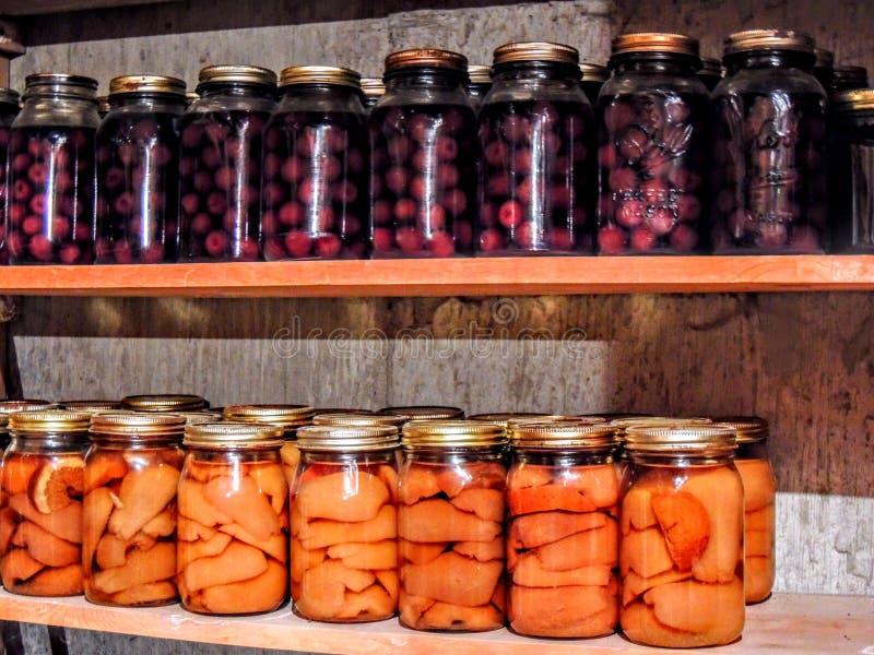 Frascos de cerejas enlatadas e dos pêssegos alinhados em seguido imagem de stock royalty free