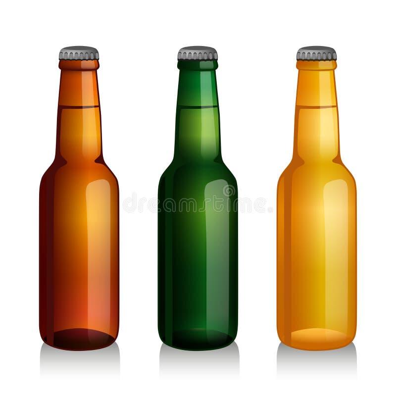 Frascos de cerveja verdes e marrons ilustração royalty free