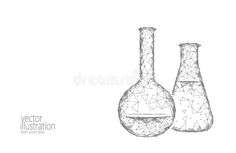 Frascos de cristal químicos de la ciencia polivinílica baja Investigación abstracta monocromática poligonal del blanco gris del t stock de ilustración