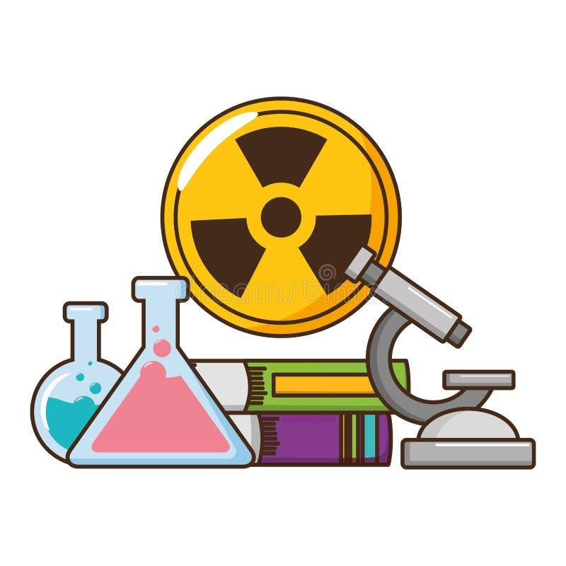 Frascos de la prueba de la ciencia de la escuela stock de ilustración