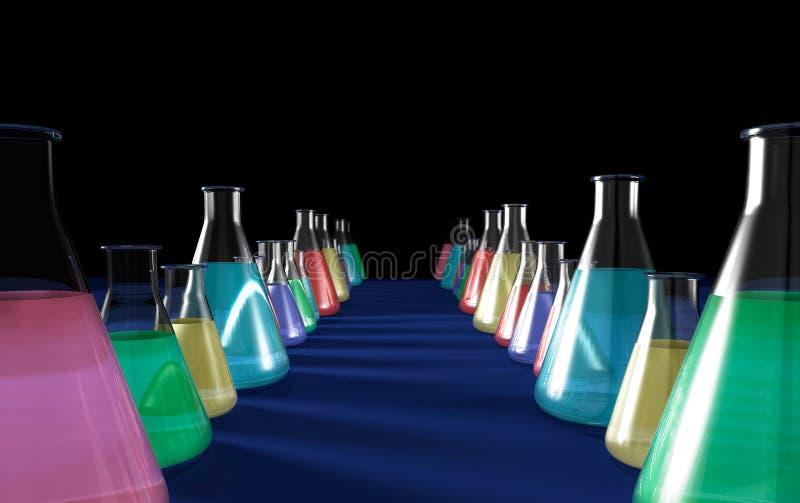 Frascos de la química ilustración del vector