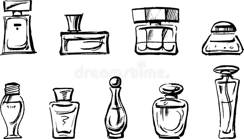 Frascos de perfume ilustração stock