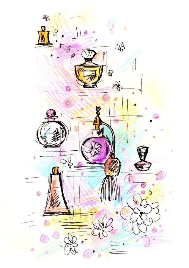 Frascos de perfume esboçado ilustração stock