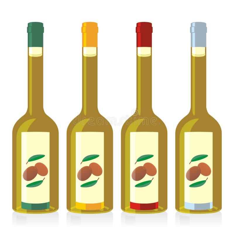 Frascos de petróleo verde-oliva isolados ajustados ilustração stock