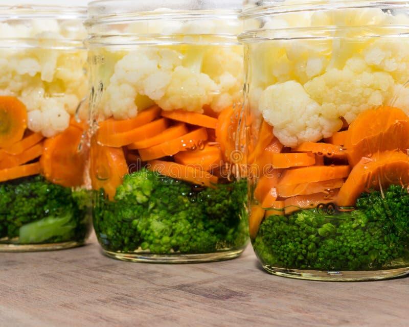 Frascos de vegetais cortados para enlatar imagem de stock royalty free