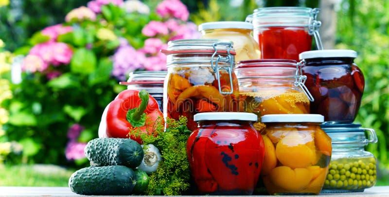 Frascos de vegetais e de frutos conservados no jardim imagens de stock