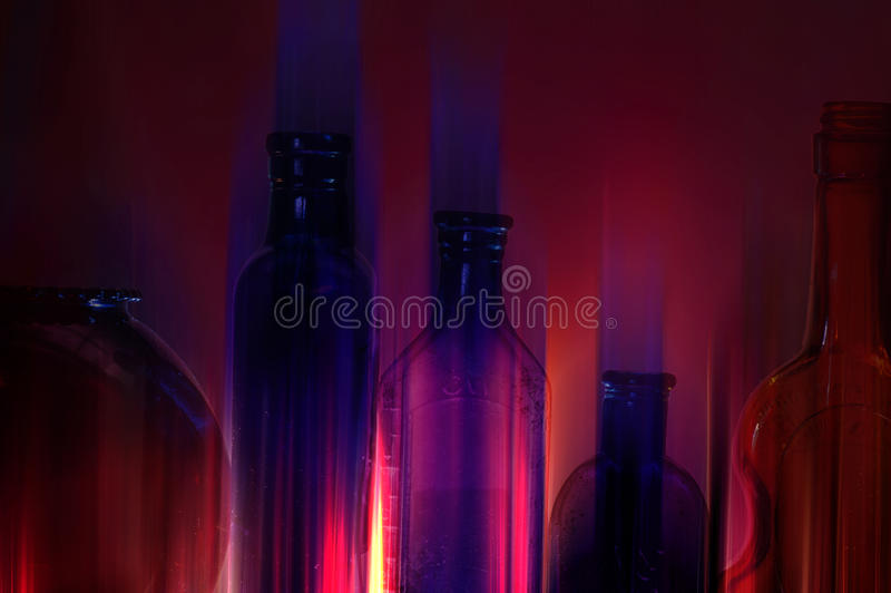 Frascos de vidro de néon imagens de stock royalty free