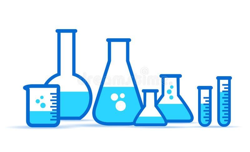 Frascos de vidro do laboratório, ícone do equipamento de laboratório Ajuste embarcações químicas ilustração stock
