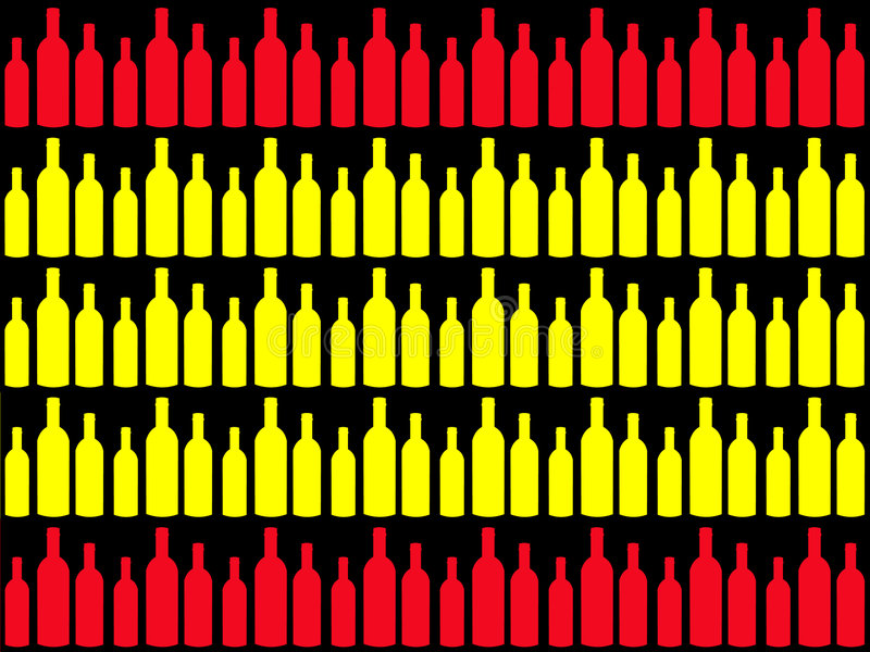 Frascos de vinho e bandeira espanhola ilustração stock