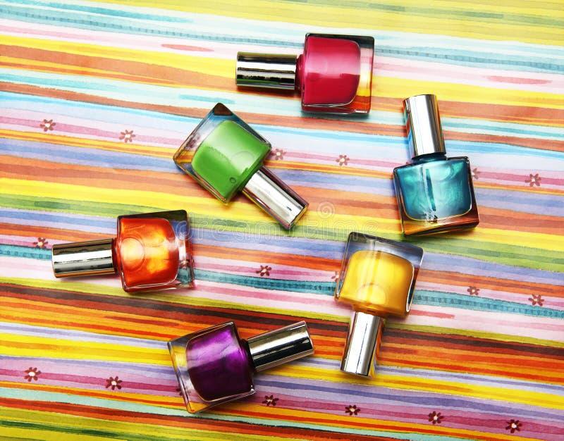 Frascos del color de pulimento de clavo foto de archivo libre de regalías