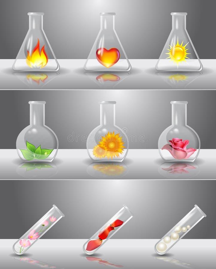 Frascos del laboratorio con diversas cosas adentro stock de ilustración