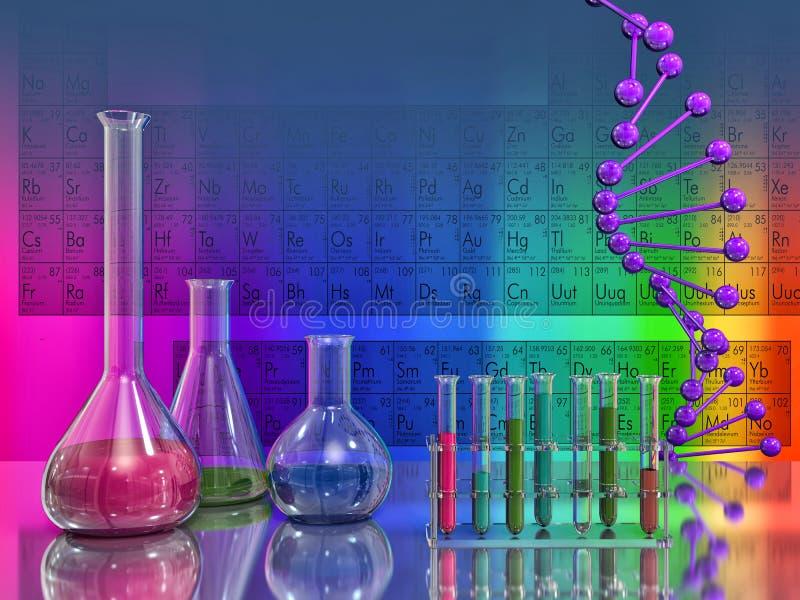 Frascos del laboratorio y DNA en el fondo de la tabla periódica stock de ilustración