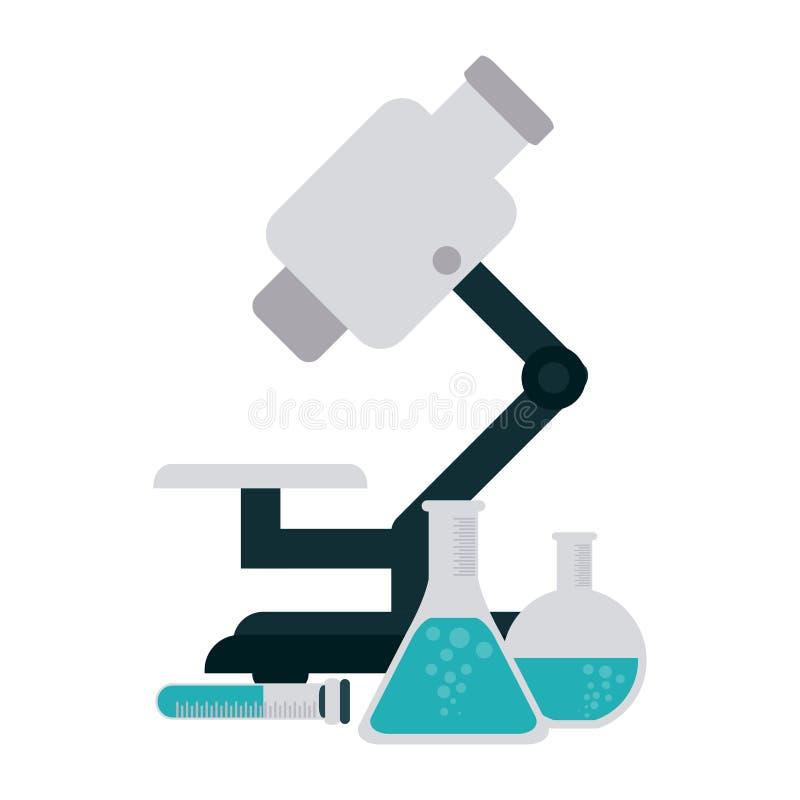 Frascos del microscopio y de la química stock de ilustración