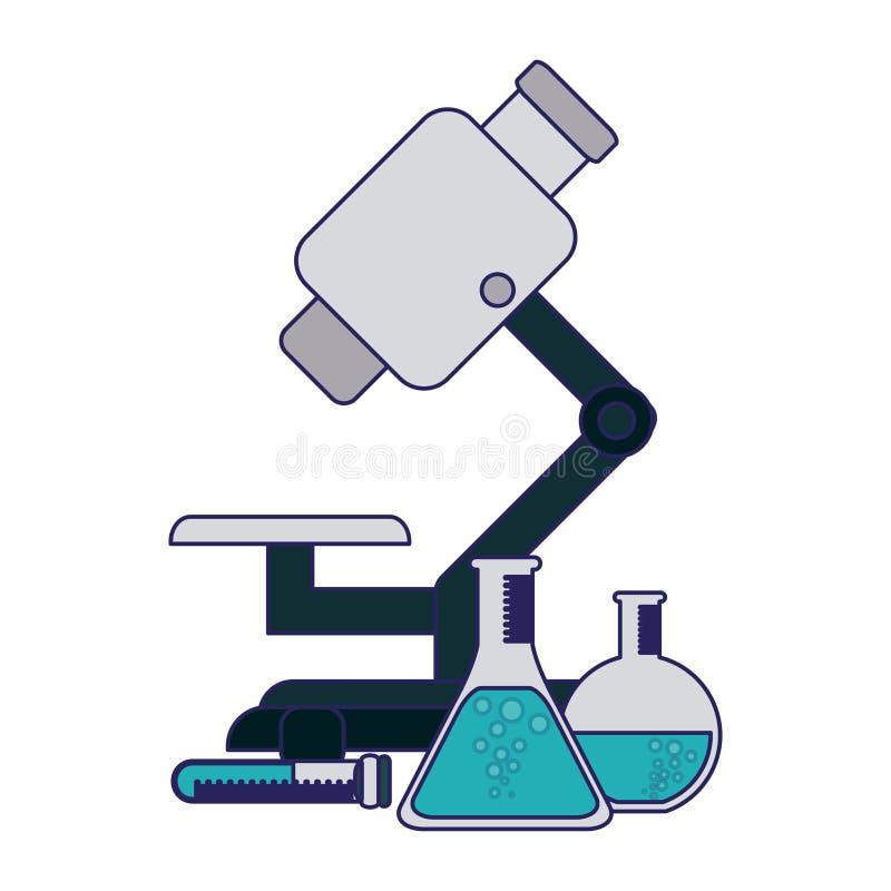 Frascos del microscopio y de la química ilustración del vector
