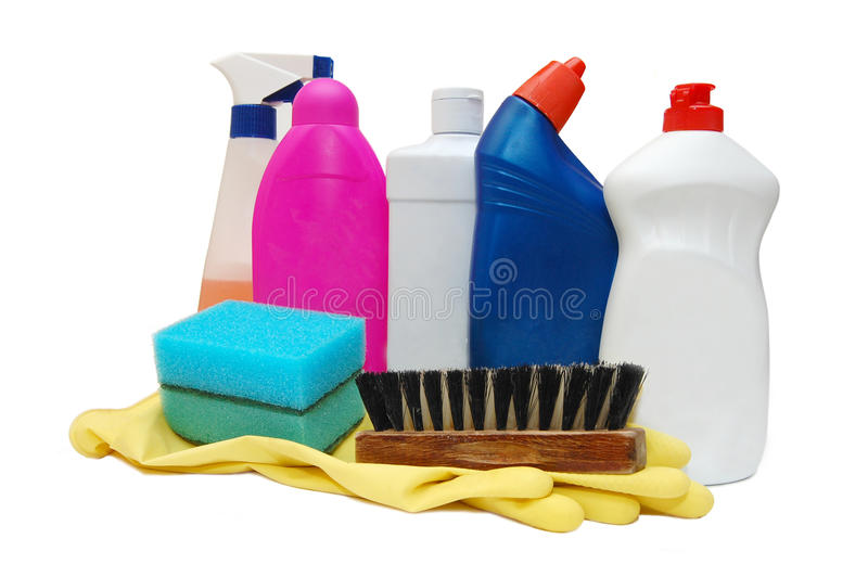 Frascos detergentes plásticos imagens de stock royalty free