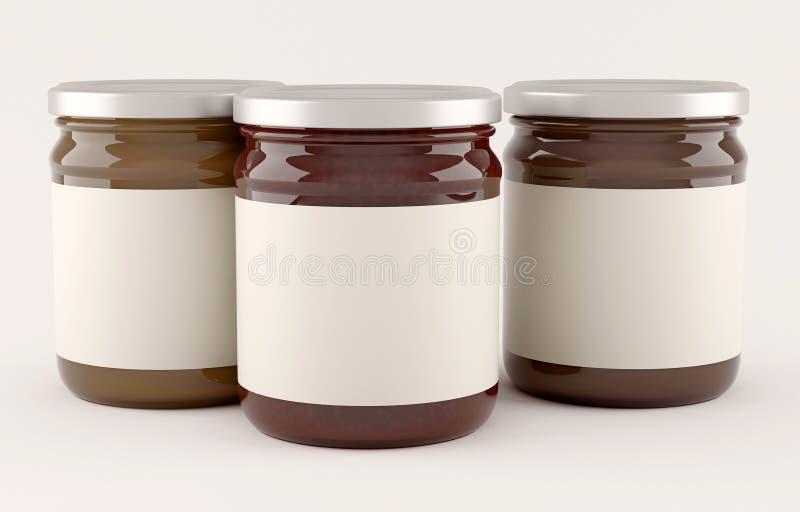 Frascos do doce sobre o fundo branco imagem de stock