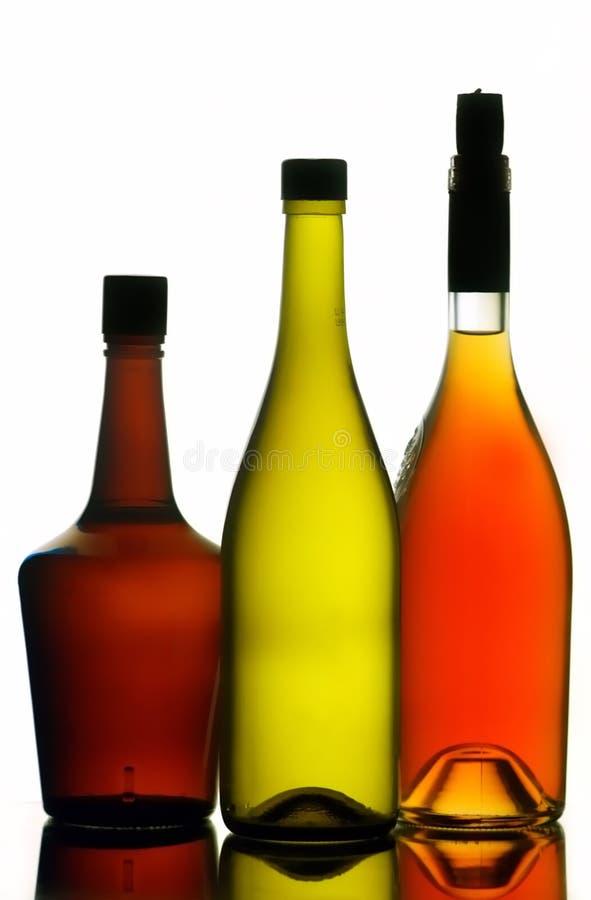 Frascos do licor e de vinho fotos de stock