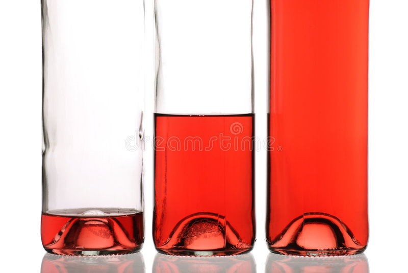Frascos do vinho cor-de-rosa foto de stock