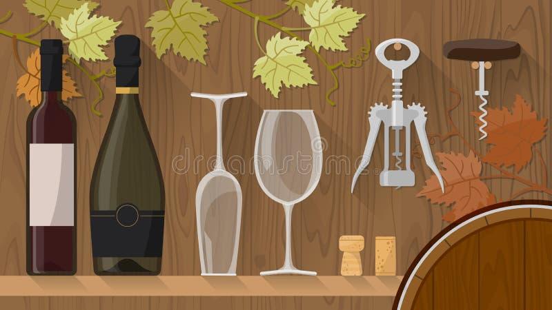 Frascos e vidros de vinho ilustração royalty free