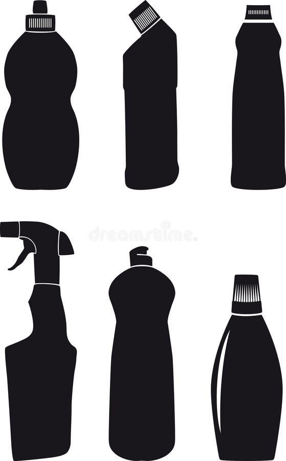 Frascos para líquidos da lavagem da louça ilustração do vetor