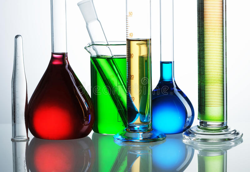 Frascos químicos fotos de archivo