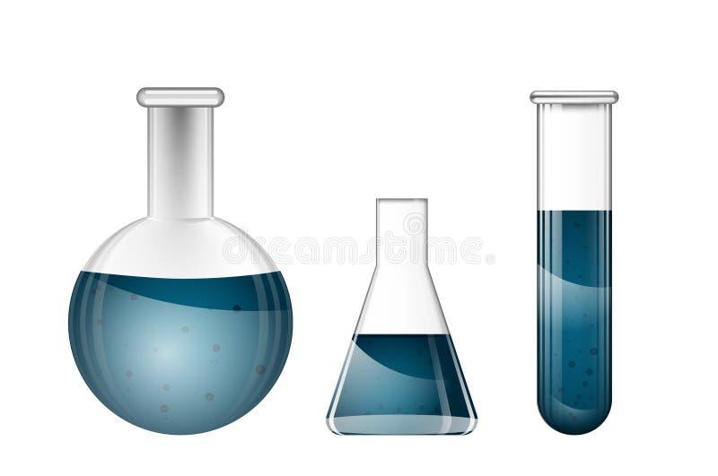 Frascos químicos con los líquidos azules ilustración del vector