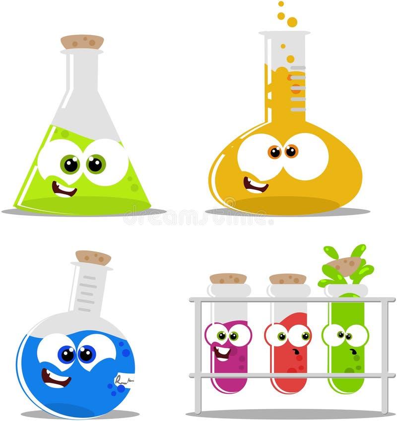Frascos y cubiletes químicos de la ciencia ilustración del vector