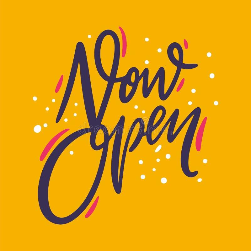 Frase ahora abierta Letras dibujadas mano del vector Aislado en fondo amarillo ilustración del vector