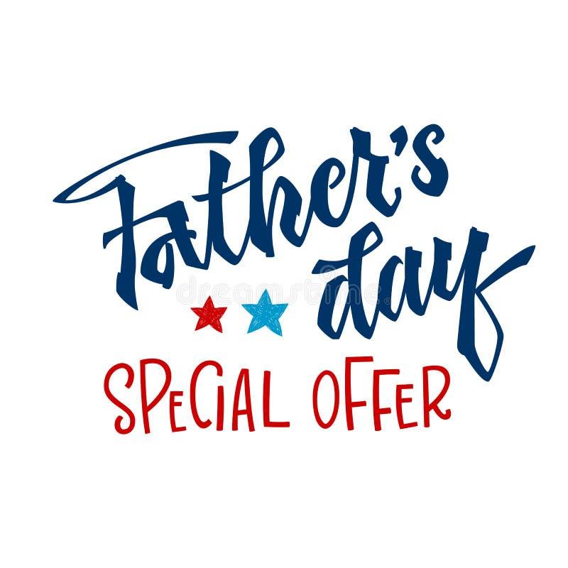 Frase da oferta especial de dia de pai Citações do dia de pai Rotula??o tirada m?o da m?o da escada do roteiro ilustração do vetor