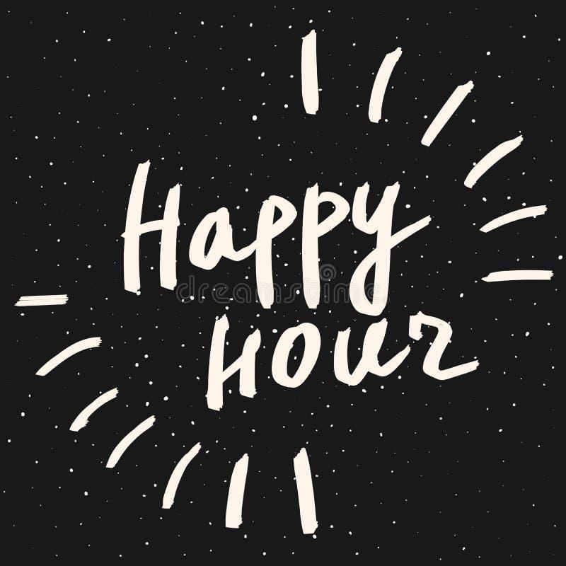 Frase da rotulação do happy hour Texto tirado mão da caligrafia do vetor Projeto do estilo do moderno ilustração do vetor