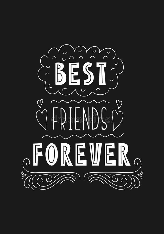 Frase Da Rotulação Melhores Amigos Para Sempre Ilustração
