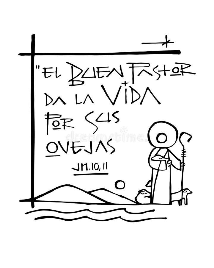 Frase De Bliblic O Bom Pastor Dá Sua Vida Ilustração Stock