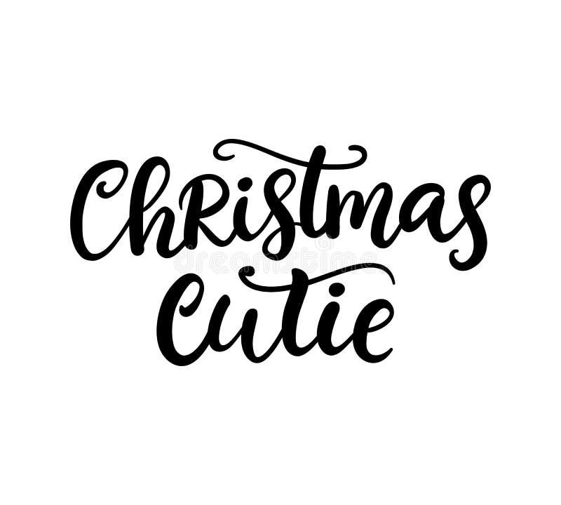 Frase de Cutie do Natal Rotulação da tinta ilustração royalty free