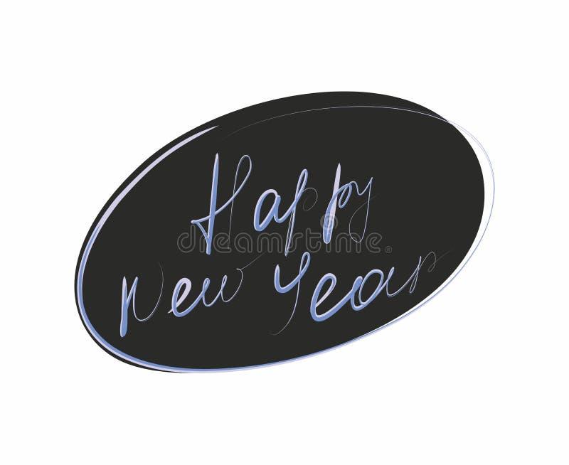 Frase de la Feliz Año Nuevo escrita aislada a mano en el fondo blanco libre illustration